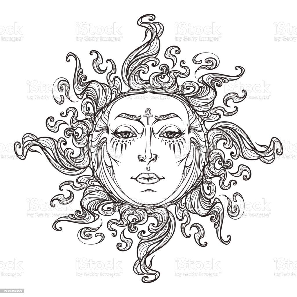 Fairytale style hand drawn sun with a human faces. vector art illustration