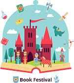 Fairytale concept with open book and medieval castle and characters vector illustration
