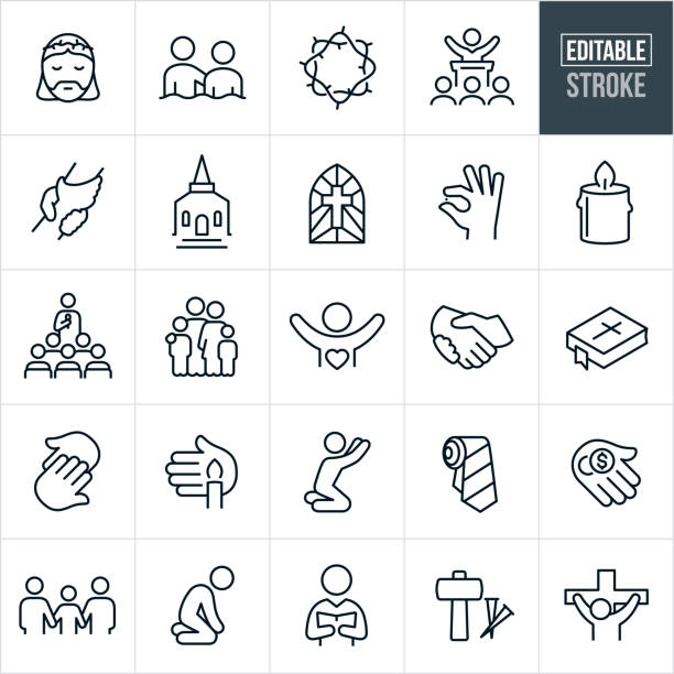 Faith and Worship Thin Line Icons - Editable Stroke A set of faith and worship icons that include editable strokes or outlines using the EPS vector file. The icons include Jesus Christ with a crown of thorns, crown of thorns, baptism, preacher preaching to congregation, griped hands, church building, stained glass window with cross, hand holding a grain of mustard seed, candle, Sunday school, family, handshake, bible, hands touching, person praying, neck tie, hand holding money, sad person, pastor reading from book, nail and spikes and Christ on the cross to name a few. place of worship stock illustrations