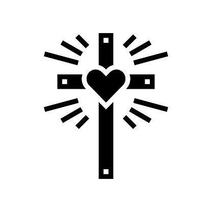 faith christianity glyph icon vector illustration