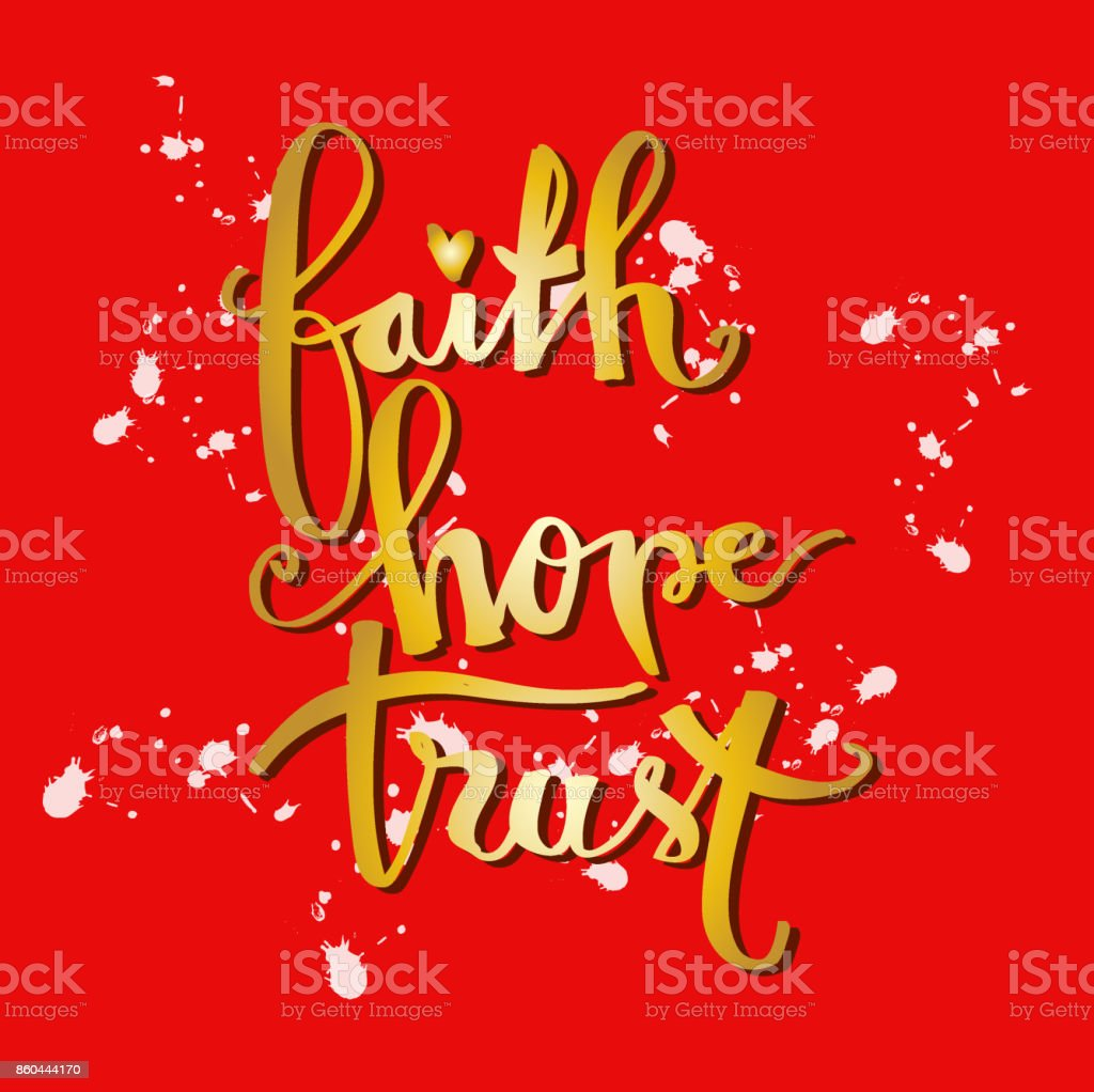 faith hopetrust hand lettering calligraphy inspirational quote royalty free faith