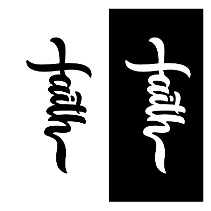 Faith word typography. Vector illustration.