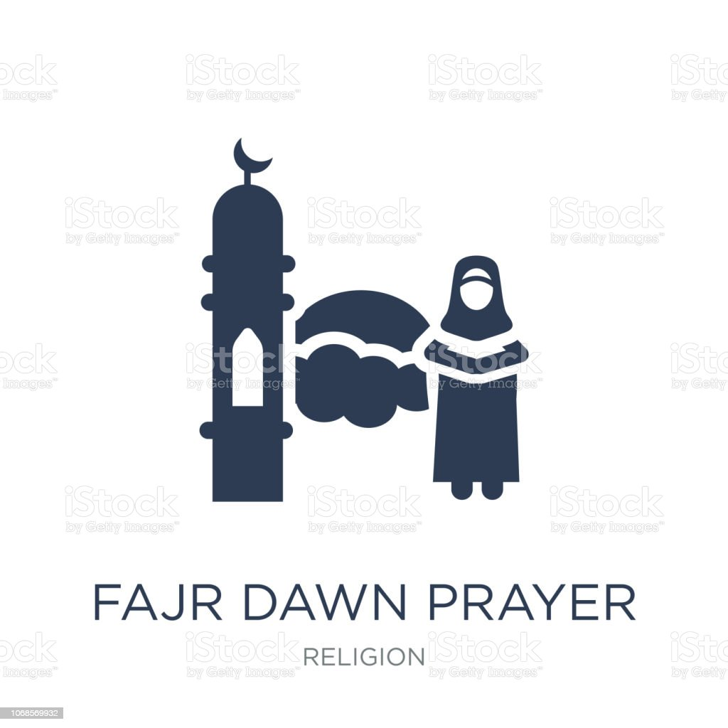 Fajr dawn Prayer icon. Trendy flat vector Fajr dawn Prayer icon on white background from Religion collection vector art illustration