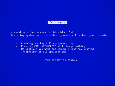Fake funny Blue Screen of Death - BSOD. Error message during system failure.