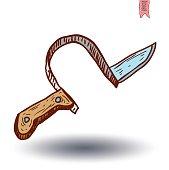 Fake knife headband. vector illustration