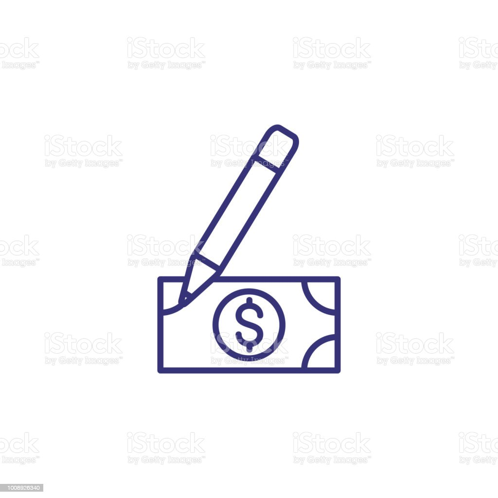 fake money line icon stock vector art more images of artificial rh istockphoto com Fake Money Ornament Printable Fake Money