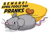 Cartoon poster with traditional prank for April Fools' Day: fake mouse wind-up toy.