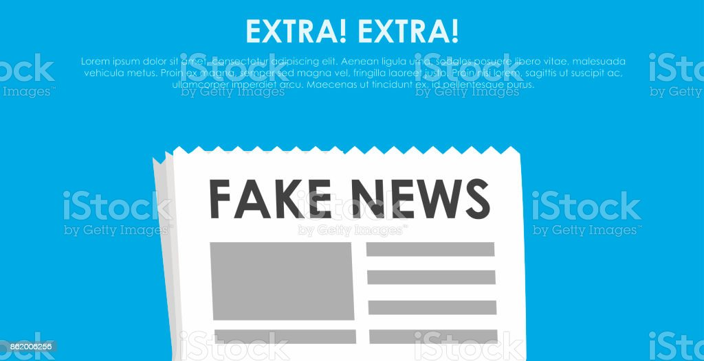 Fake news banner. Blue background with newspaper and speaker vector art illustration