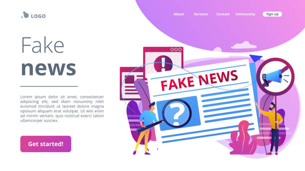 Fake news concept landing page vector art illustration