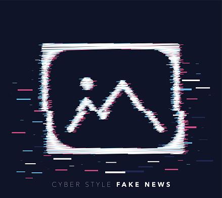 Fake News Glitch Effect Vector Icon Illustration
