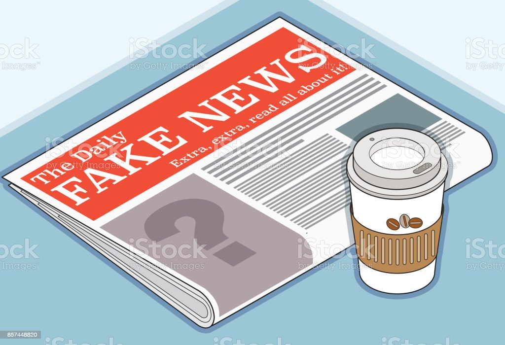 Fake News Headline in the Newspaper vector art illustration