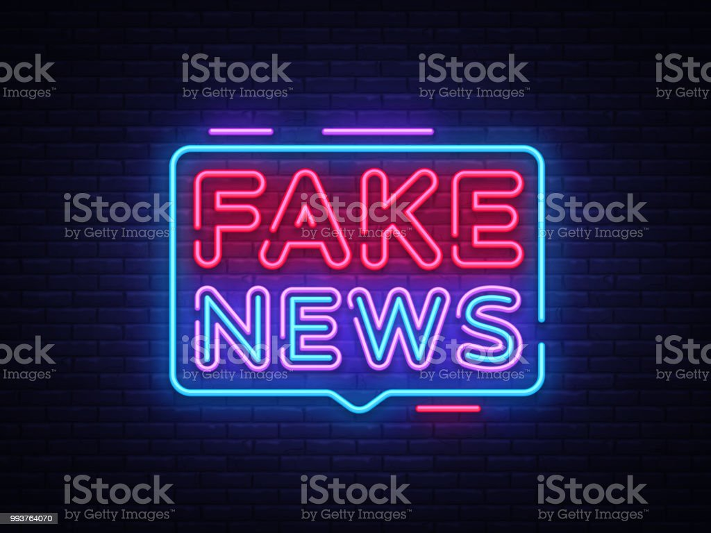 fake news neon sign vector breaking news design template neon sign