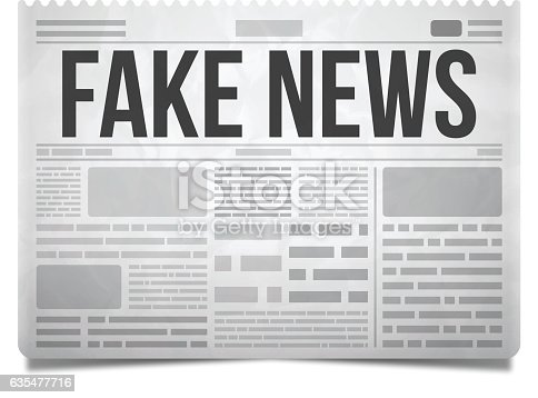 Fake news newspaper concept isolated on white. EPS 10 file. Transparency effects used on highlight elements.