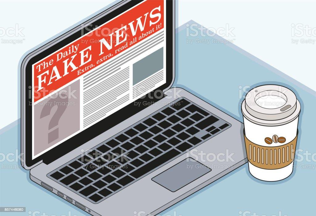 Fake News on a Computer vector art illustration