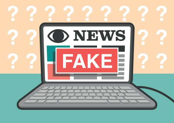 Fake news online News website on a laptop with fake sign artificial stock illustrations