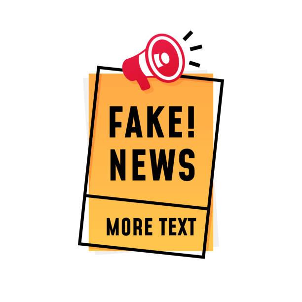 bildbanksillustrationer, clip art samt tecknat material och ikoner med fake news affisch koncept design. högtalare megafon ikon med text och fyrkantig ram klistermärke etikett mall. - paper mass
