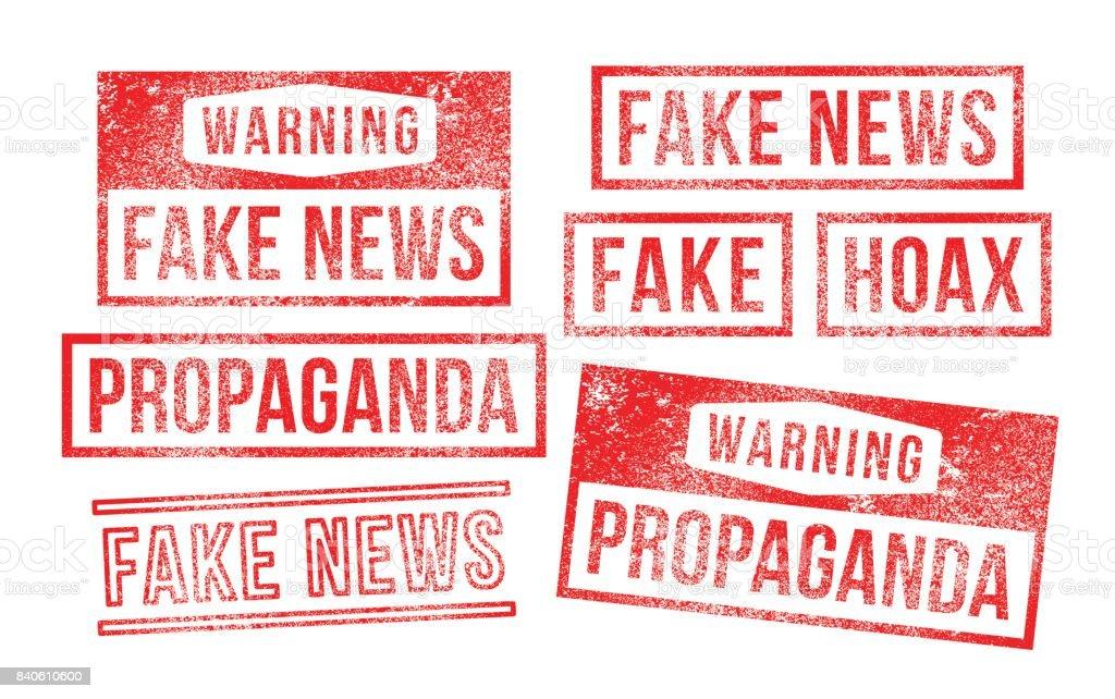 Fake news propaganda hoax Rubber Stamps