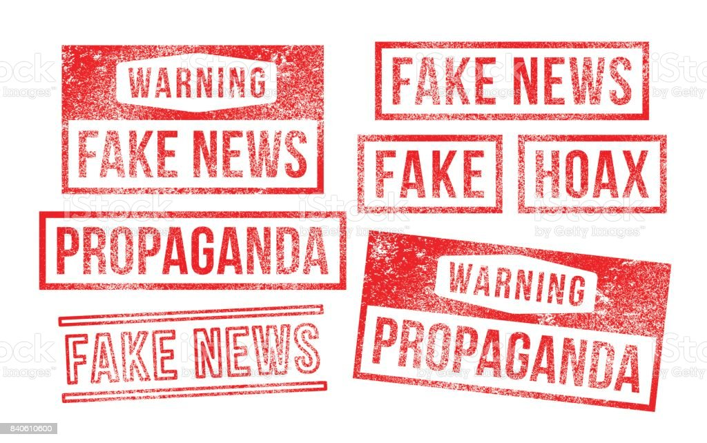 Fake news propaganda hoax Rubber Stamps vector art illustration