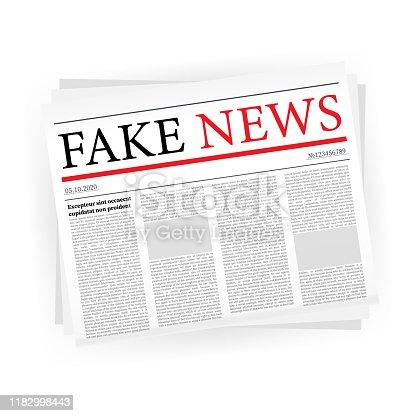 Fake news realistic newspaper on white backgraund. vector stock illustration.