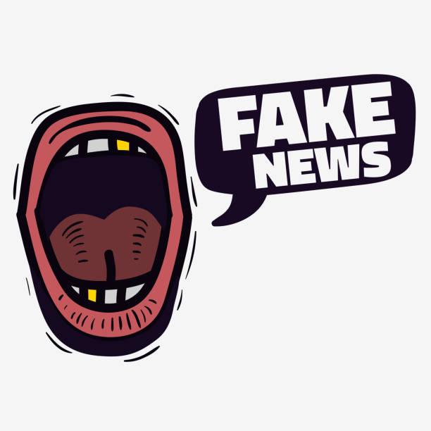 bildbanksillustrationer, clip art samt tecknat material och ikoner med falska nyheter skrikande mun handritad doodle stil på en vit bakgrund vektor media - paper mass