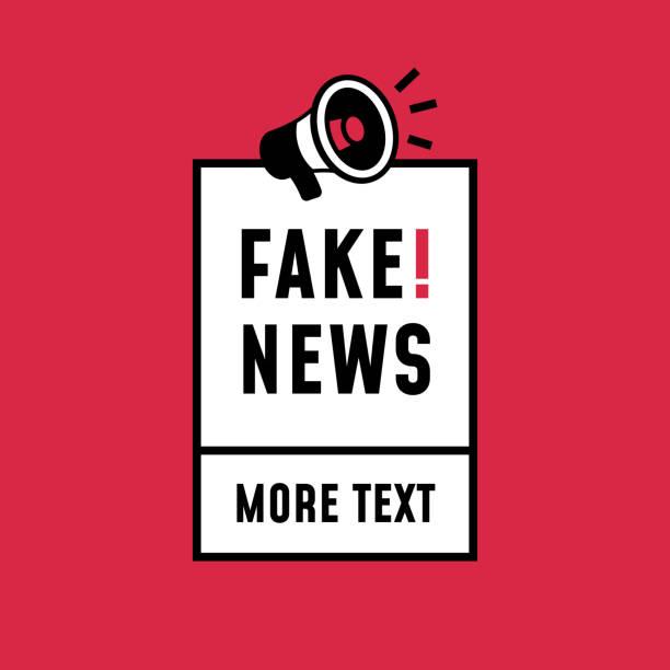 bildbanksillustrationer, clip art samt tecknat material och ikoner med fake news enkel retro stil klistermärke design. högtalare megafon ikon med textetikett för affisch mall. - paper mass