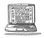 Fake News Social Network Laptop Computer Drawing