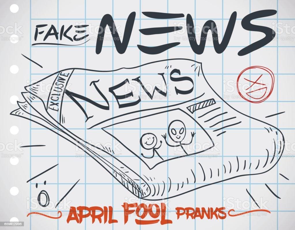 Ilustración de Edición De Periódico Falso Para Bromas De April Fools ...