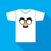 Vector illustration of a white t-shirt with a  fake nose mustache and glasses on it.