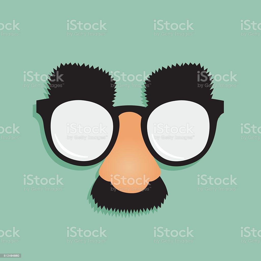 Fake Nose Mustache Glasses vector art illustration