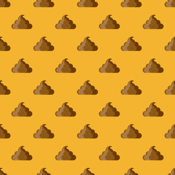 Fake Poop April Fools' Day Seamless Pattern A seamless pattern created from a single flat design icon, which can be tiled on all sides. File is built in the CMYK color space for optimal printing and can easily be converted to RGB. No gradients or transparencies used, the shapes have been placed into a clipping mask. feces stock illustrations