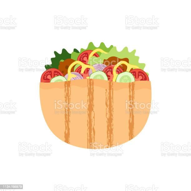 Falafel in pita meatball salad in bread traditional jewish food vector id1134766979?b=1&k=6&m=1134766979&s=612x612&h=njpbieizk4uqtxx3wnth72p4nzfj4 4a1srdjium7me=