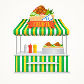 Falafel Street Market. Fast Food Kiosk. Traditional Cuisine with the Flag of Israel. Vector illustration