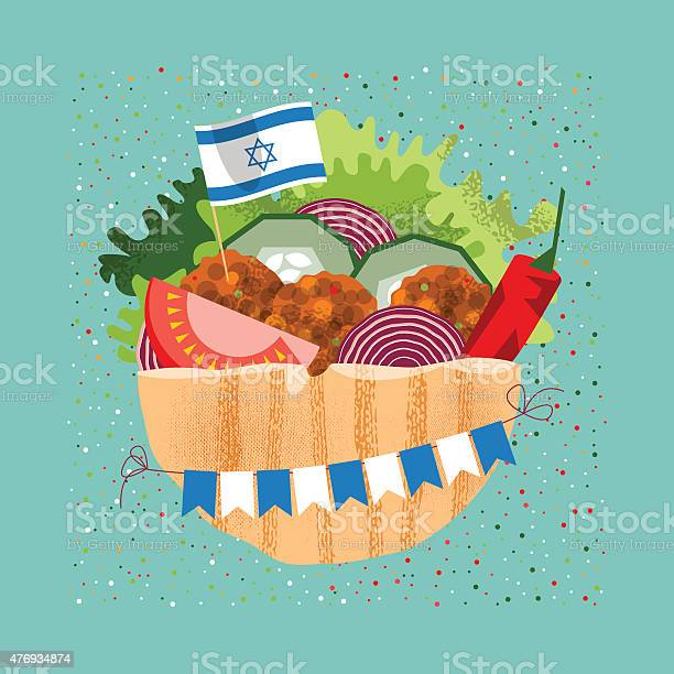 Falafel with the israeli flag and garland for independence day vector id476934874?b=1&k=6&m=476934874&s=612x612&h=uoxddvyugcw8wmlrf41fm2xc9jccjnxzk4gnanmx3zk=