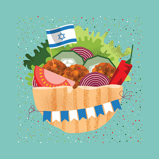 falafel with the israeli flag and garland for independence day. - israel independence day stock illustrations, clip art, cartoons, & icons