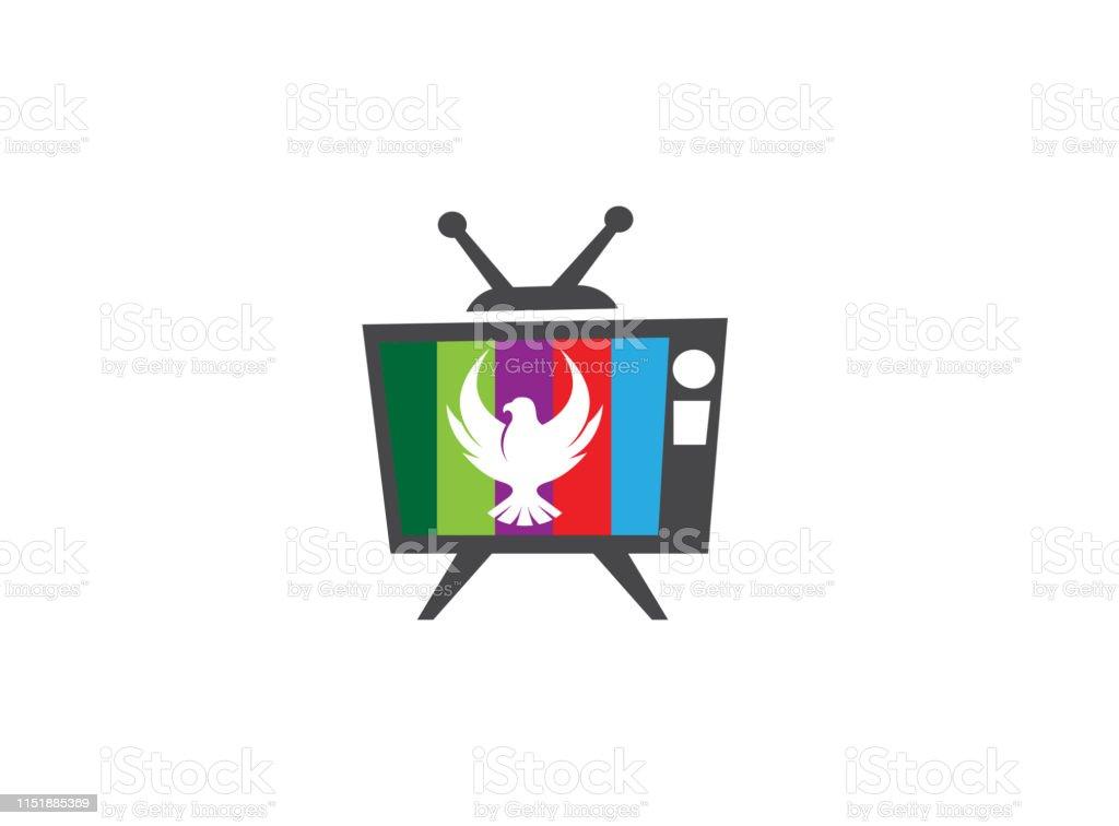 Falcon Or Eagle Open Wings Flying Logo Design Illustration