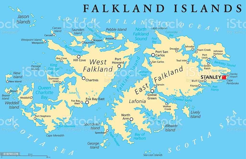 Islas Malvinas Mapa Mundi.Ilustracion De Isla Malvina Del Mapa Politico Y Mas Vectores