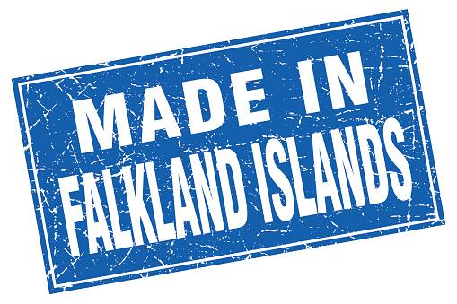 Falkland Islands blue square grunge made in stamp