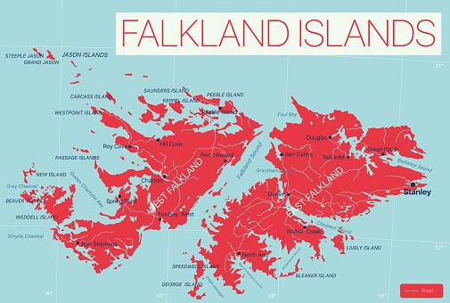 Falkland Islands detailed editable map