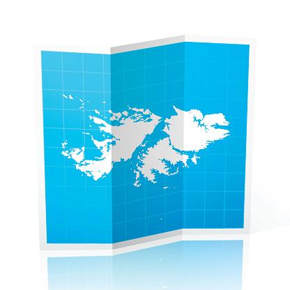 Falkland Islands Map folded, isolated on white Background