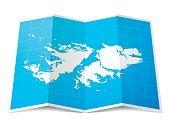 Map of Falkland Islands folded and isolated on white background.