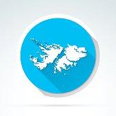 Falkland Islands map icon, Flat Design, Long Shadow
