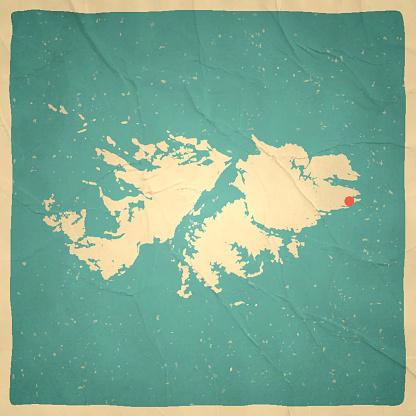 Falkland Islands Map on old paper - vintage texture