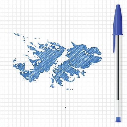 Falkland Islands map sketch on grid paper, blue pen