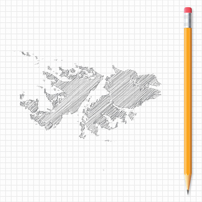 Falkland Islands map sketch with pencil on grid paper