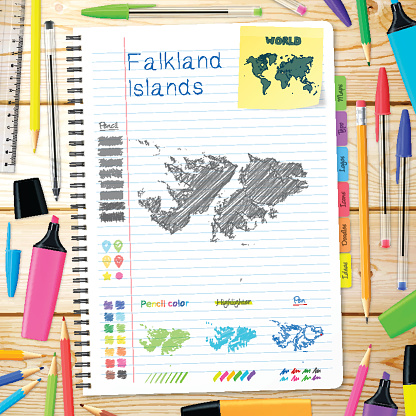 Falkland Islands maps hand drawn on notebook. Wooden Background