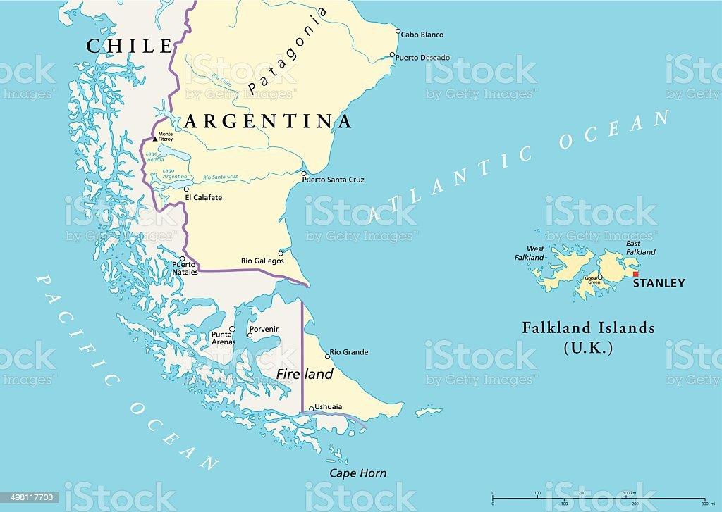 Falkland Islands Policikal Map vector art illustration