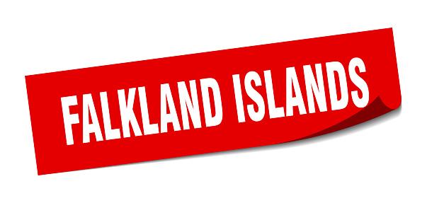 Falkland Islands sticker. Falkland Islands red square peeler sign