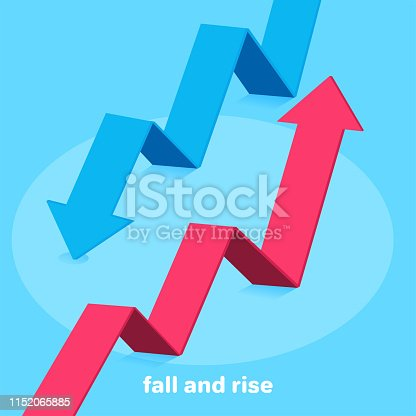 isometric vector image on a blue background, a red arrow going up and blue down, success or failure in business