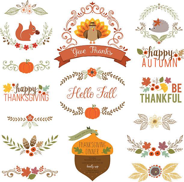 Fall and Thanksgiving set vector art illustration