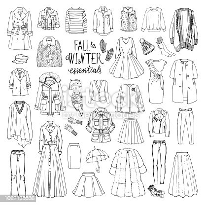 Vector illustration set of women's fall and winter fashion clothes. Coats, dresses, skirts, jackets, trousers, hats, gloves, socks. Black and white sketch.